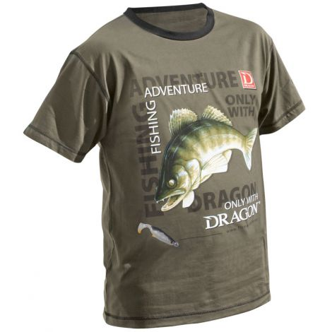Dragon T-Shirt Fishing Adventure Sandacz XXL Olive